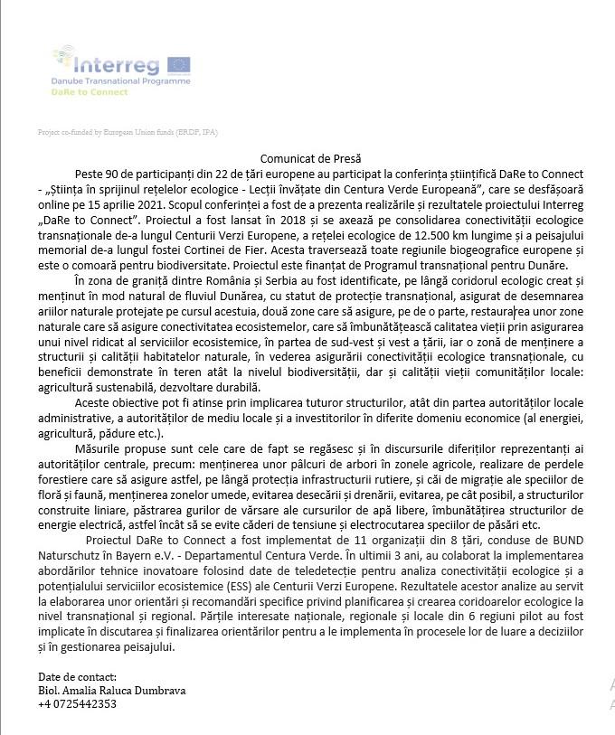 """""""Știința în sprijinul rețelelor ecologice – Lecții învățate din Centura Verde Europeană""""- conferință în cadrul proiectului DaRe to Connect"""